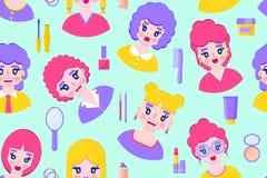 Bezszwowy wzór z dziewczynami ilustracji