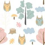 Bezszwowy wzór z dziką naturą, lasem i sową, Wektorowy projekt, dzieci ilustracyjni ilustracja wektor