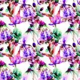 Bezszwowy wzór z dzikimi kwiatami ilustracja wektor