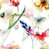 Bezszwowy wzór z dzikimi kwiatami ilustracji