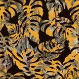 Bezszwowy wzór z egzotycznymi drzewami taki my palma, monstera i banan, Wewnętrzna rocznik tapeta royalty ilustracja
