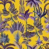 Bezszwowy wzór z egzotycznymi drzewami taki my palma, monstera i banan, Wewnętrzna rocznik tapeta ilustracji