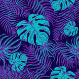 Bezszwowy wzór z egzotycznymi liśćmi Fotografia Royalty Free