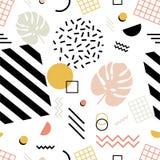 Bezszwowy wzór z egzotycznymi monstera liśćmi, geometryczni kształty różnorodna tekstura i zygzag linie na białym tle, ilustracja wektor