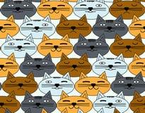 Bezszwowy wzór z emocjonalnymi twarzami koty Wektorowy tło Zdjęcie Royalty Free