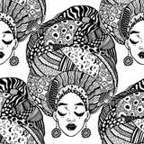 Bezszwowy wzór z etniczną kobietą w tradycyjnym geometrycznym turbanie, kierowniczy opakunek ilustracja wektor