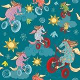 Bezszwowy wzór z fantazja koniami Obraz Stock