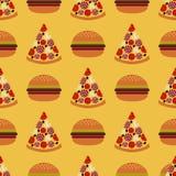 Bezszwowy wzór z fastem food Zdjęcia Royalty Free