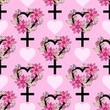 Bezszwowy wzór z feminizmu symbolem Fotografia Stock