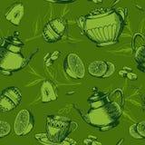 Bezszwowy wzór z filiżanką herbata Obraz Royalty Free