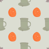 Bezszwowy wzór z filiżanką i pomarańcze Obrazy Royalty Free