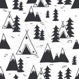Bezszwowy wzór z górami, wigwamy, jedlinowi drzewa royalty ilustracja