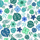 Bezszwowy wzór z gałąź, kwiatami i palmą zieleni, błękita i seledynu, opuszcza na białym tle royalty ilustracja