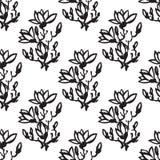Bezszwowy wzór z gałązki magnolią, chiński styl Obraz Stock