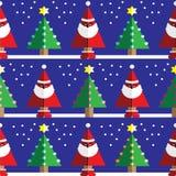 Bezszwowy wzór z geometrical Święty Mikołaj, śnieg, choinki z światłami i gwiazdowym elementem bławych, pomarańczowych, menchii, Zdjęcie Stock
