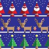 Bezszwowy wzór z geometrical reniferem, prezenty, Święty Mikołaj, śnieg pomarańczowy, choinki z bławym, menchia zaświeca Zdjęcie Royalty Free