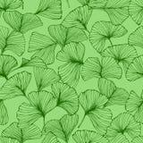 Bezszwowy wzór z ginkgo biloba liśćmi, textured ręki rysować konturu liścia żyły royalty ilustracja
