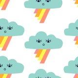 Bezszwowy wzór z graficznymi kreskówek chmurami, tęczą i royalty ilustracja