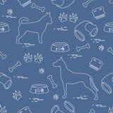 Bezszwowy wzór z Great dane i chihuahua, sylwetka, grępla royalty ilustracja