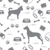Bezszwowy wzór z Great dane i chihuahua, sylwetka, grępla ilustracji