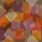 Bezszwowy wzór z grunge paskującymi i w kratkę kwadratowymi elementami Obrazy Royalty Free