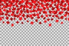 Bezszwowy wzór z gwiazdami dla 1st Lipa świętowanie na przejrzystym tle zapina Canada dzień ikony ustawiać Ilustracji