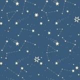 Bezszwowy wzór z gwiazdami, gwiazdozbiory Zdjęcia Royalty Free