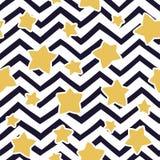 Bezszwowy wzór z gwiazdami i zygzakowatym wzorem rabatowy bobek opuszczać dębowego faborków szablonu wektor Fotografia Stock