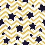 Bezszwowy wzór z gwiazdami i zygzakowatym wzorem rabatowy bobek opuszczać dębowego faborków szablonu wektor Obrazy Royalty Free