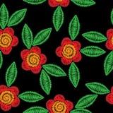 Bezszwowy wzór z hafciarskim ścieg imitaci kwiatem Fotografia Royalty Free