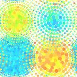 Bezszwowy wzór z halftone kolorowych kropek wektorowym okręgiem kształtuje Abstrakcjonistyczny multicolor mozaika motyw kształtuj Zdjęcie Stock