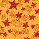 Bezszwowy wzór z Halloweenową banią i kwiatami royalty ilustracja