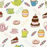 Bezszwowy wzór z herbatą i tortem ilustracji
