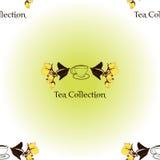 Bezszwowy wzór z herbata ustalonym logem ilustracji