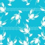 Bezszwowy wzór z homarem Zdjęcia Royalty Free