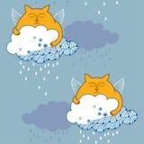 Bezszwowy wzór z imbirowymi Śmiesznymi kotami i chmurami ilustracji