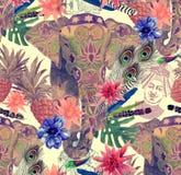 Bezszwowy wzór z indyjskim słoniem, kwiaty, liście, upierza szczotkarski węgiel drzewny rysunek rysujący ręki ilustracyjny ilustr Zdjęcie Stock
