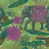 Bezszwowy wzór z indyjskim słoniem, liście, kwiaty wektor Fotografia Royalty Free