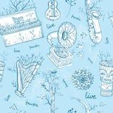 Bezszwowy wzór z instrumentami muzycznymi, drzewa, ptaki Obraz Stock