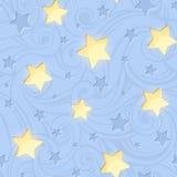 Bezszwowy wzór z jaśnienie gwiazdami na błękicie również zwrócić corel ilustracji wektora ilustracja wektor