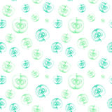 Bezszwowy wzór z jabłkami ciącymi w połówce Obrazy Royalty Free