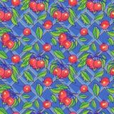 Bezszwowy wzór z jabłkami, gałąź i liśćmi, ilustracja wektor
