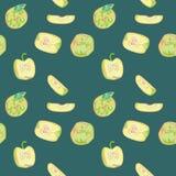 Bezszwowy wzór z jabłkami Fotografia Stock