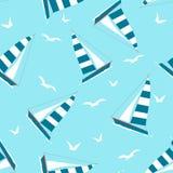 Bezszwowy wzór z jachtem i Seagulls royalty ilustracja