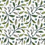 Bezszwowy wzór z jagodami i liśćmi na białym tle ilustracja wektor