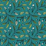 Bezszwowy wzór z jagodami i liśćmi na zmroku - błękitny tło ilustracja wektor