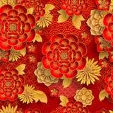 Bezszwowy wzór z japończyka, chińczyka i azjata elementami, ilustracja wektor