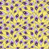 Bezszwowy wzór z jaskrawymi pawi piórkami ilustracji