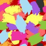 Bezszwowy wzór z jaskrawymi szczotkarskimi uderzeniami Grunge, nakreślenie, akwarela, plamy royalty ilustracja