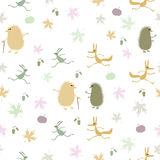 Bezszwowy wzór z jeżami na białym tle Obraz Royalty Free